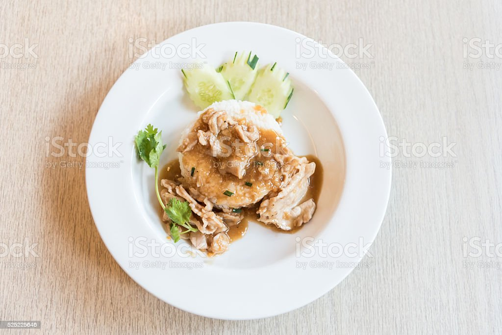 Schweinefleisch mit Thai-Pfeffer-sauce auf Reis Lizenzfreies stock-foto