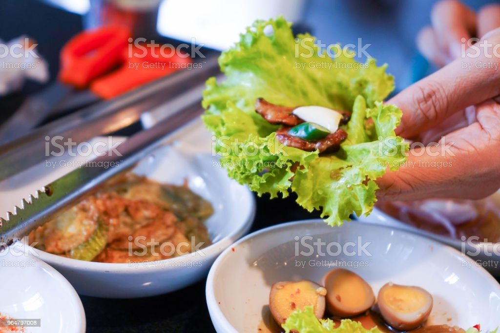 pork wrap with vegetable korean barbeque royalty-free stock photo