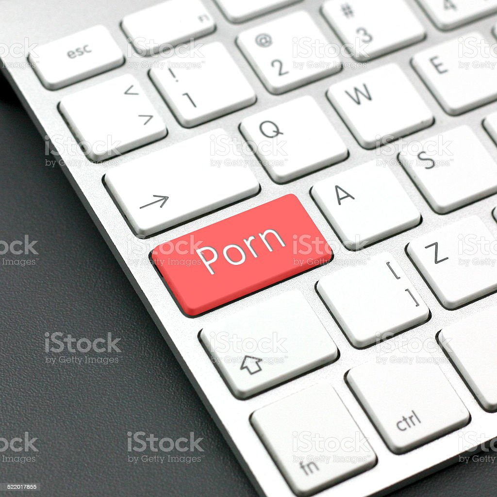 porn button on a keyboard stock photo