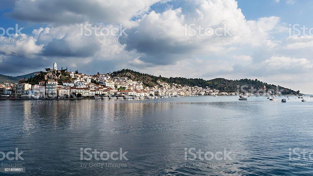 Poros Island panorama, Greece stock photo