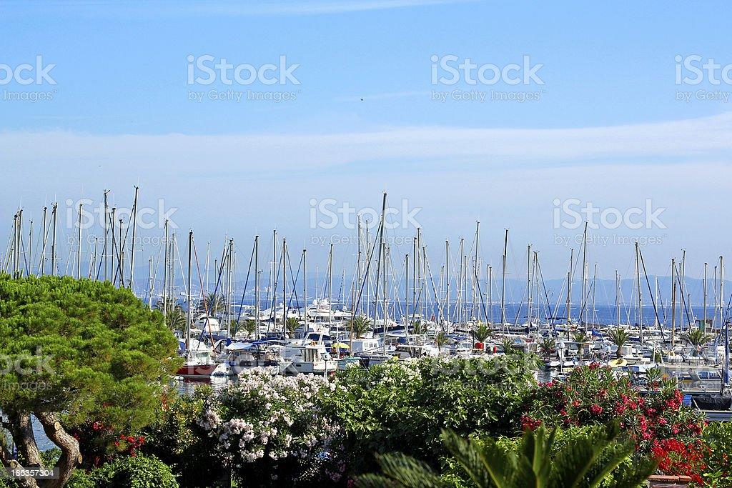 Porquerolles harbor stock photo