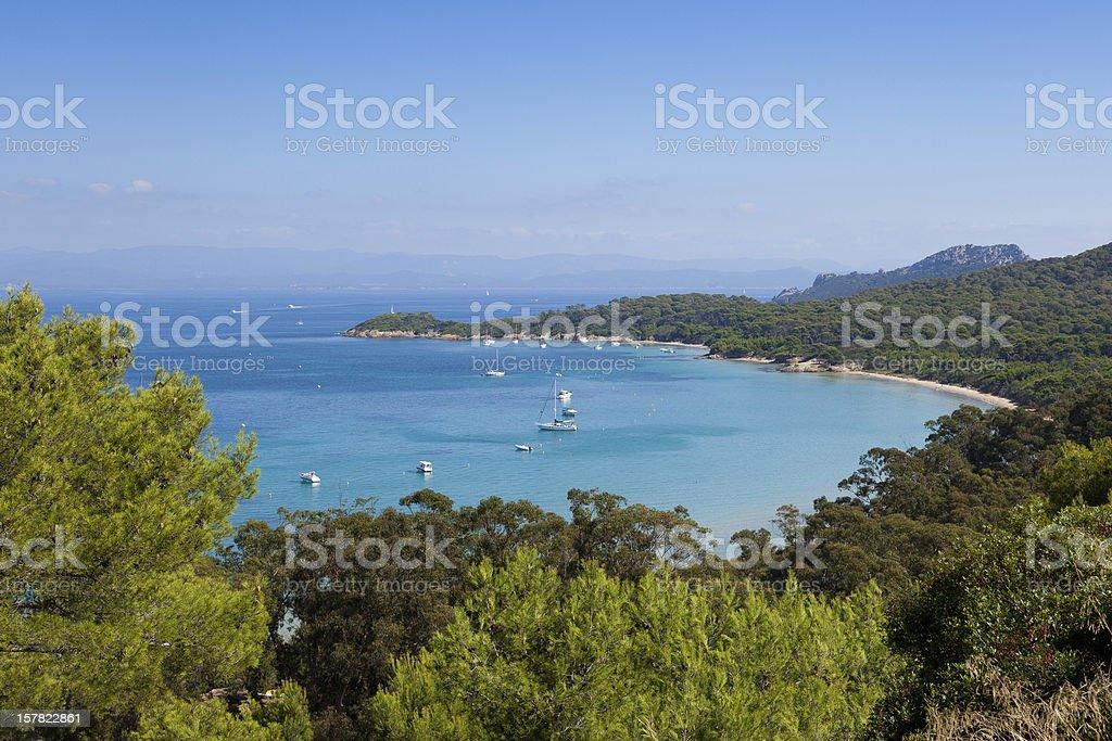Porquerolles island bay in France stock photo