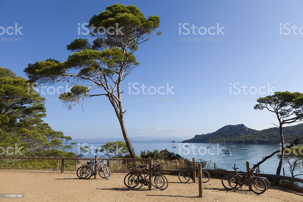 Porquerolles island in France stock photo