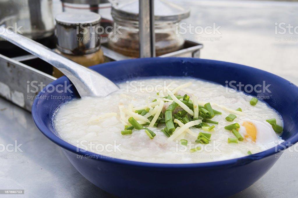 Porridege rice with pork royalty-free stock photo