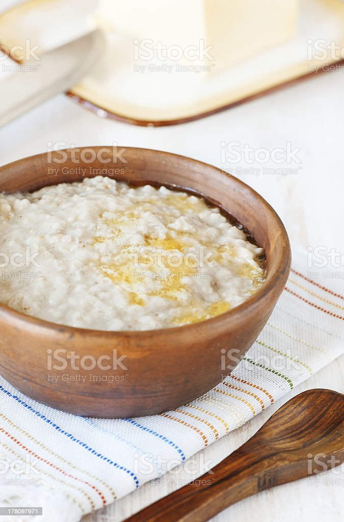 Porridge with melting butter royalty-free stock photo
