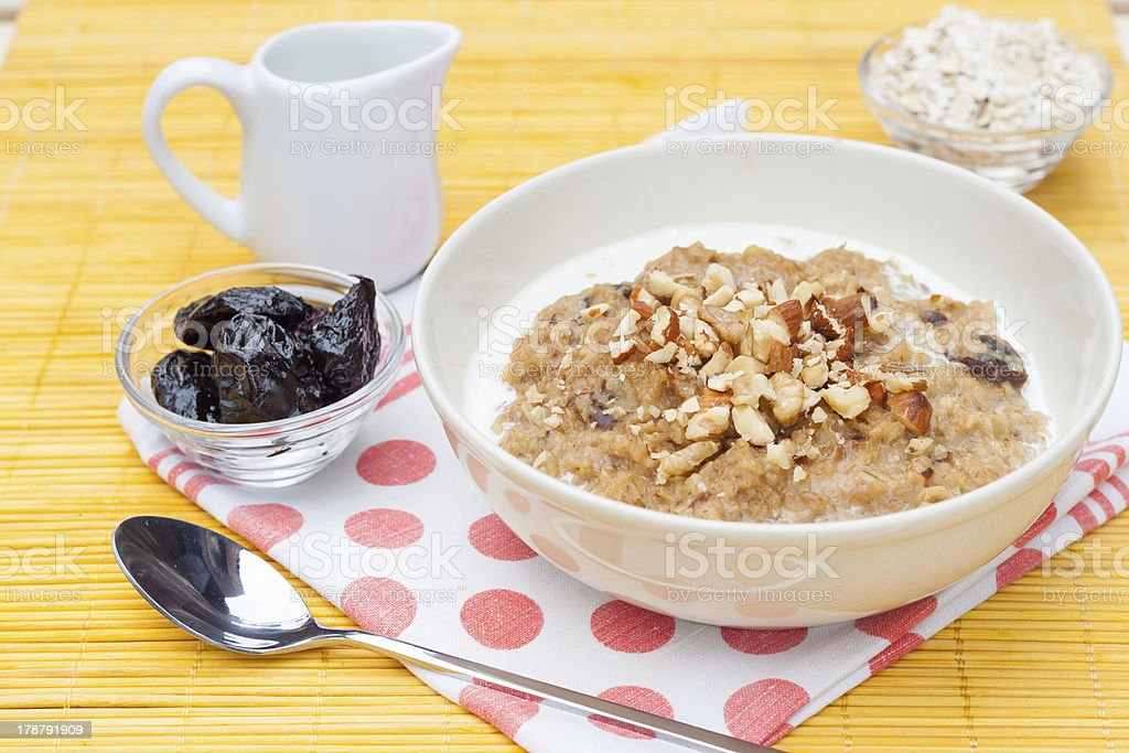 porridge with walnut royalty-free stock photo