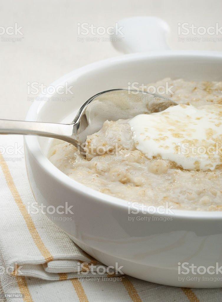 Porridge with Yoghurt Scottish Breakfast royalty-free stock photo