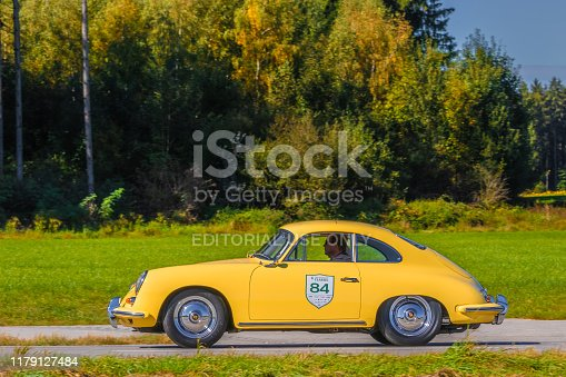 Augsburg, Germany - September 29, 2019: 1960 Porsche 356 B 1600 Super german oldtimer car at the Fuggerstadt Classic 2019 Oldtimer Rallye.