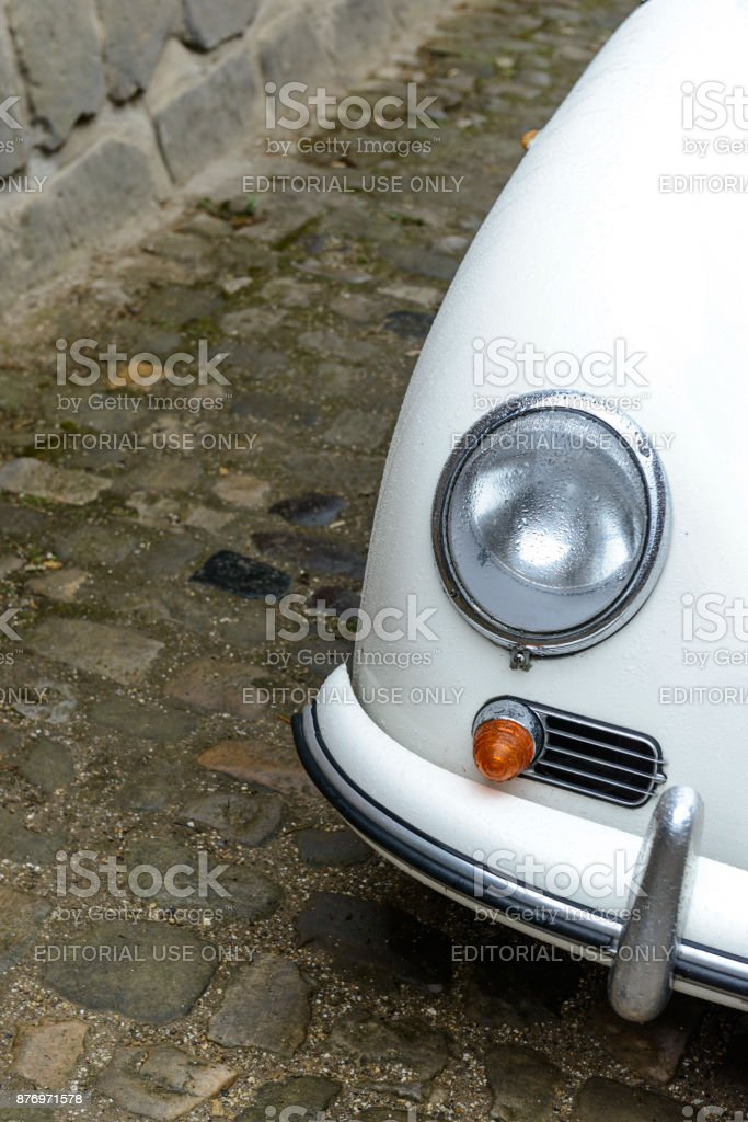 Porsche 356 Convertbile classic sports car detail stock photo
