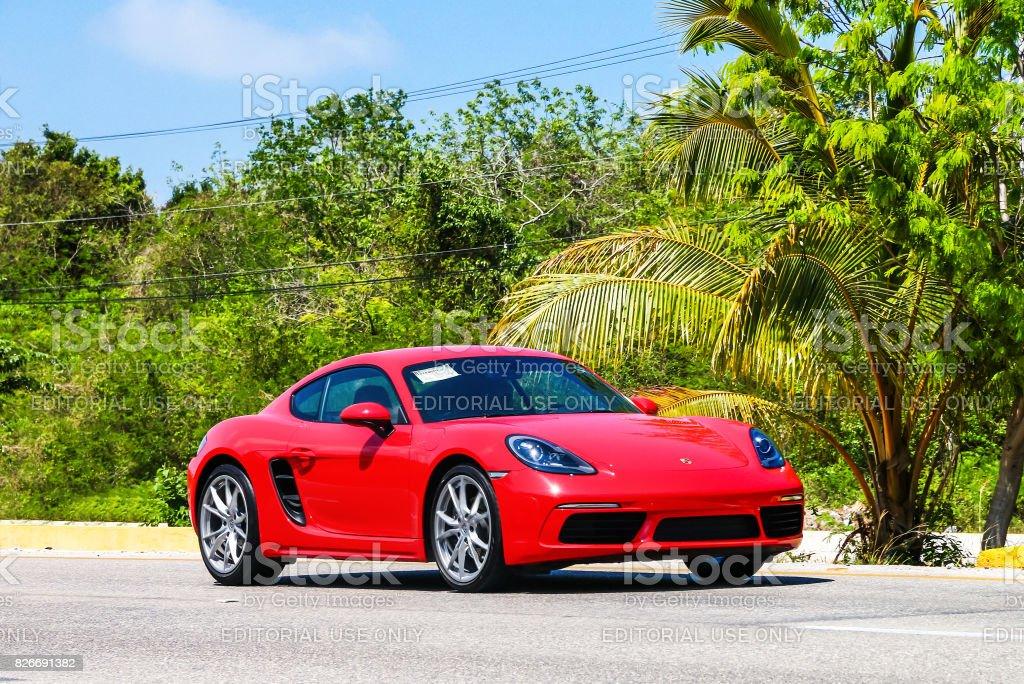 Porsche 718 Cayman Quintana Roo, Mexico - May 16, 2017: Motor car Porsche 718 Cayman in the city street. Alley Stock Photo