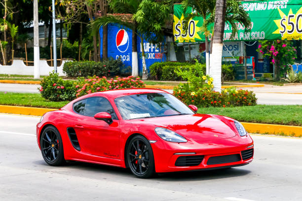 Porsche 718 Cayman S ACAPULCO, MEXICO - MAY 28, 2017: Motor car Porsche 718 Cayman S in the city street. porsche stock pictures, royalty-free photos & images
