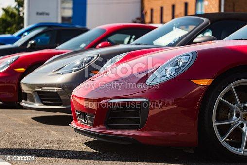 Halifax, Canada - July 29, 2018 - Porsche 911 Carrera S at the Porsche of Halifax dealership on Kempt road in Halifax's North End.