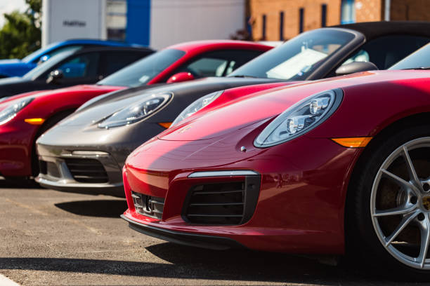 Porsche 911 Carrera S Halifax, Canada - July 29, 2018 - Porsche 911 Carrera S at the Porsche of Halifax dealership on Kempt road in Halifax's North End. luxury car stock pictures, royalty-free photos & images