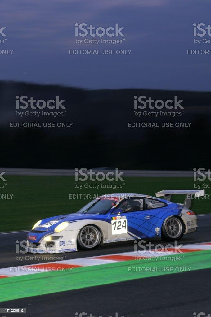 Porsche 911 GT3 Cup race car at the race track stock photo