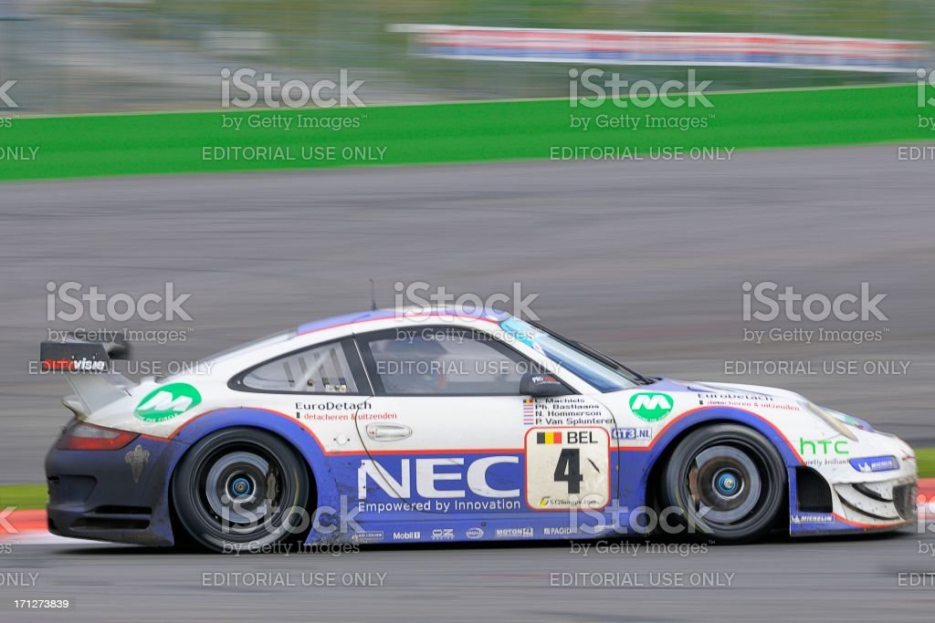 Porsche 911 GT3 race car at the race track stock photo