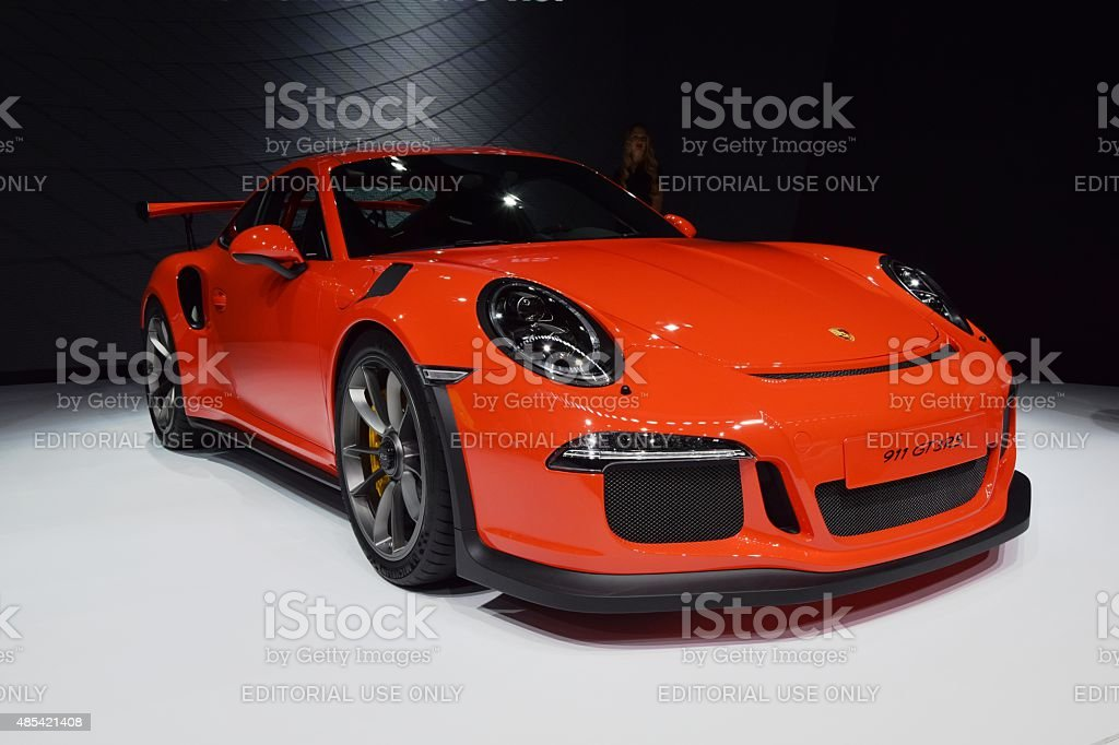 Porsche 911 GT3RS on the motor show stock photo