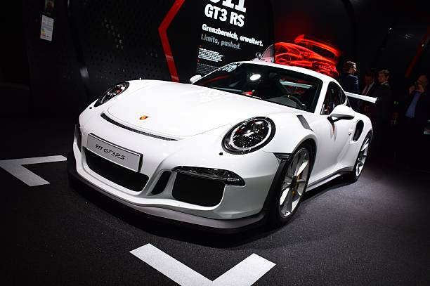 Porsche 911 GT3RS on the motor show Frankfurt, Germany - September, 15th, 2015: The presentation of Porsche 911 GT3RS supercar on the motor show. This vehicle is the one of the fastest cars in the world. porsche stock pictures, royalty-free photos & images