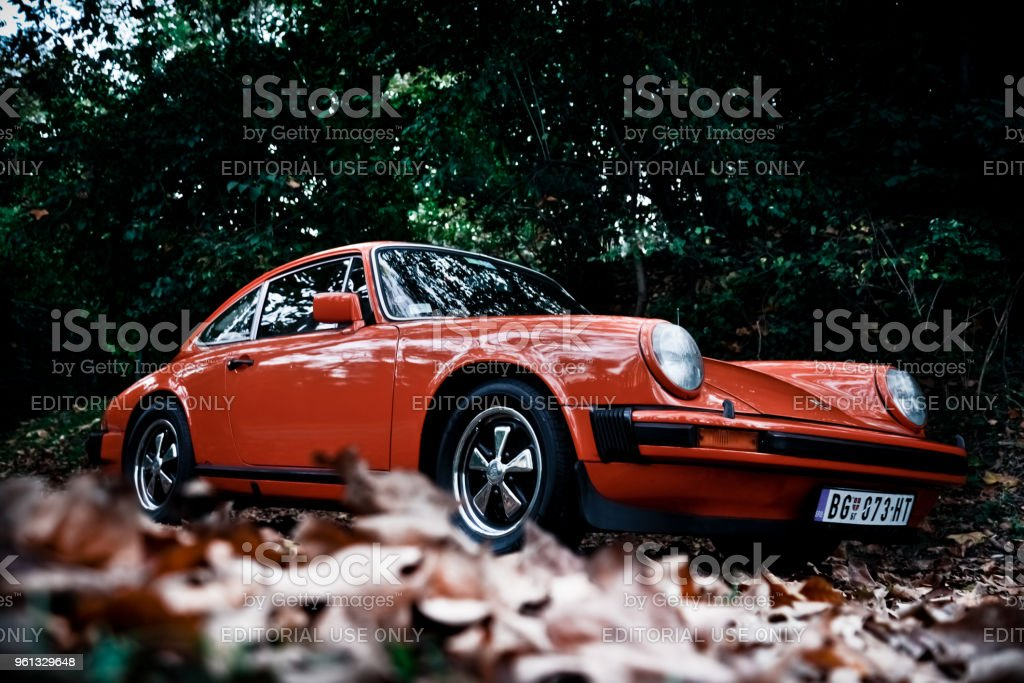 Porsche 911 in the woods Porsche 911 in the woods, orange, nature all around, photographed in the autumn with trees and leas. Dominate orange colour of the car and green background. Historical car and vintage. Autumn Stock Photo