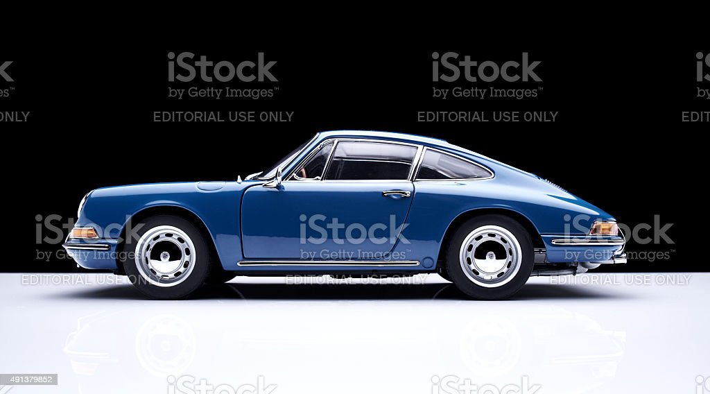 Porsche 911 Model Car Against Black stock photo