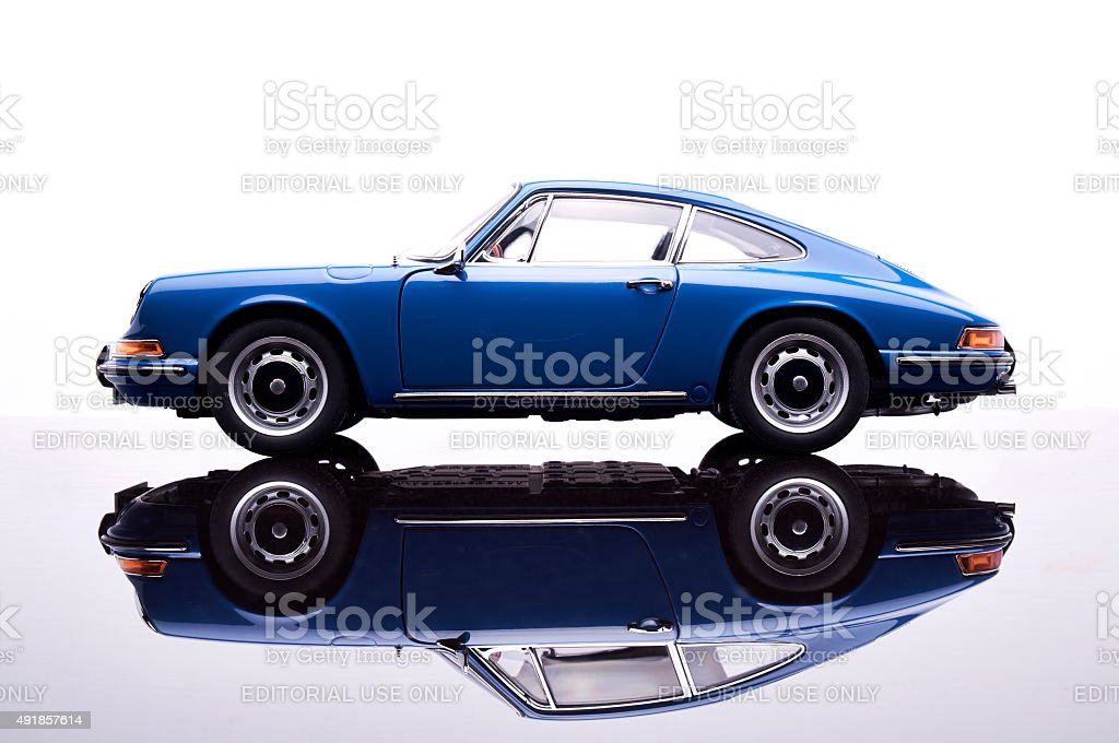 Porsche 911 Model Car On White stock photo