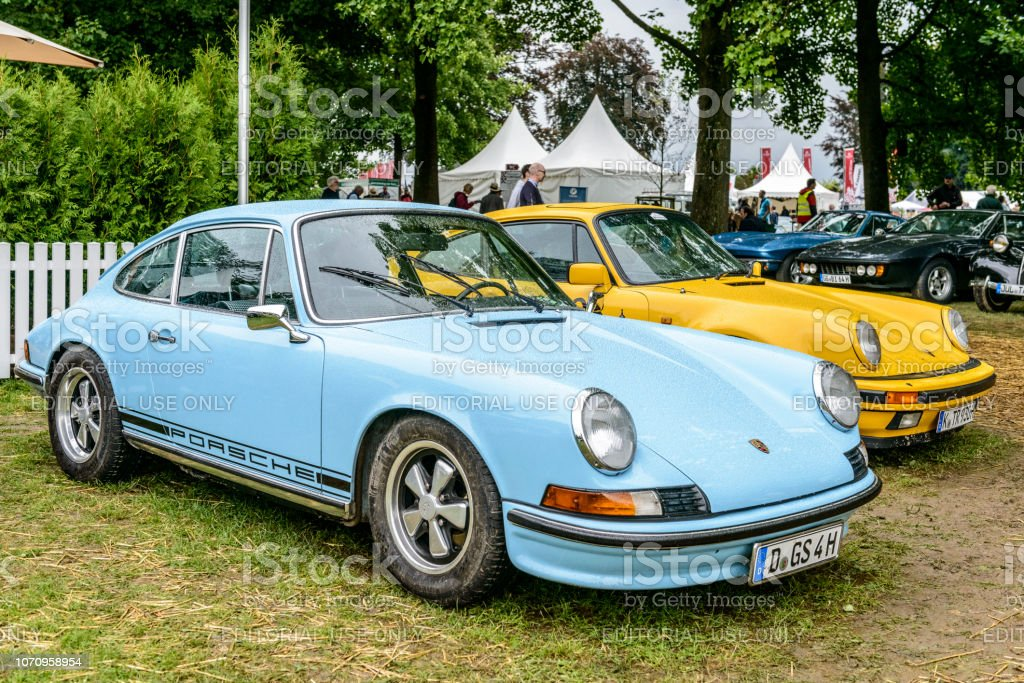 Porsche 911 T vintage classic sports car front stock photo
