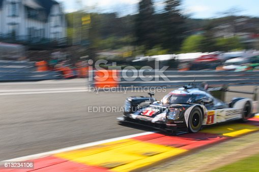 Spa, Belgium - May 7, 2016: Porsche 919 Hybrid  sports-prototype racing car in Eau Rouge during the 2016 FIA WEC 6 Hours of Spa. The car is driving around the Spa Francorchamps race track during the WEC 6 Hours of Spa-Francorchamps. The team participates in the 2016 FIA World Endurance Championship (WEC).