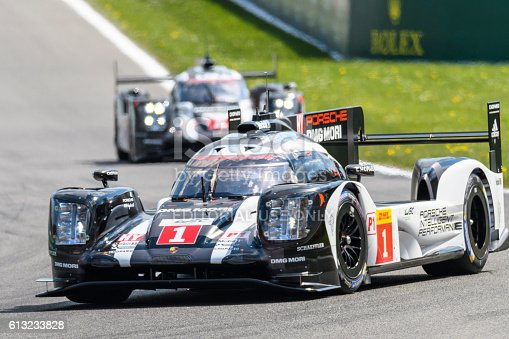 Spa, Belgium - May 7, 2016: Porsche 919 Hybrid  sports-prototype racing cars during the 2016 FIA WEC 6 Hours of Spa. The no.1 car started from pole position. The 2nd Porsche 919 is following in the background. The car is driving around the Spa Francorchamps race track during the WEC 6 Hours of Spa-Francorchamps. The team participates in the 2016 FIA World Endurance Championship (WEC).