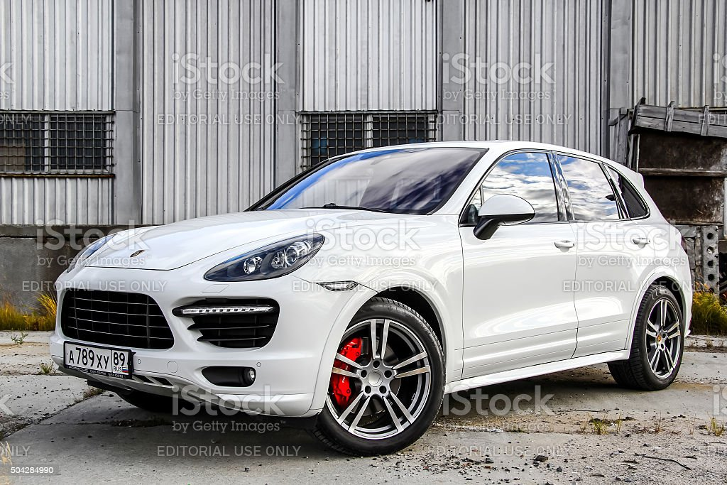 Porsche 958 Cayenne Novyy Urengoy, Russia - September 5, 2015: Motor car Porsche 958 Cayenne is parked at the city street. 2015 Stock Photo