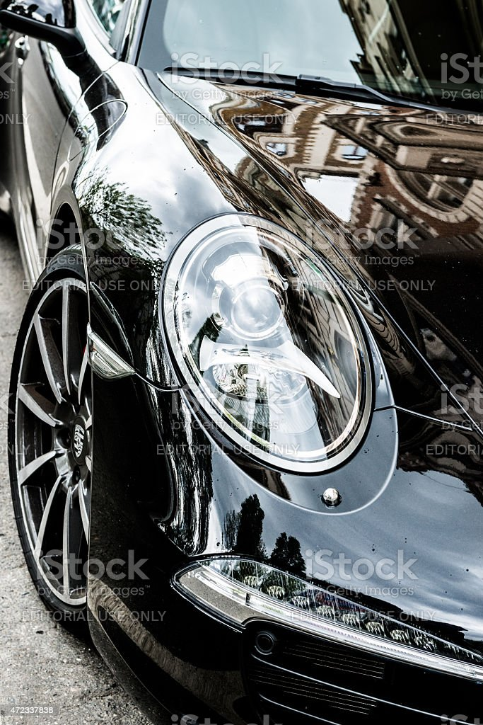Porsche 991 Turbo S on parking stock photo