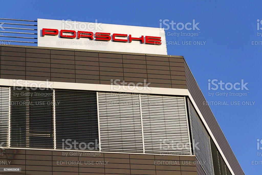 Porsche Automotive Company Logo On Czech Headquarters Building Stock