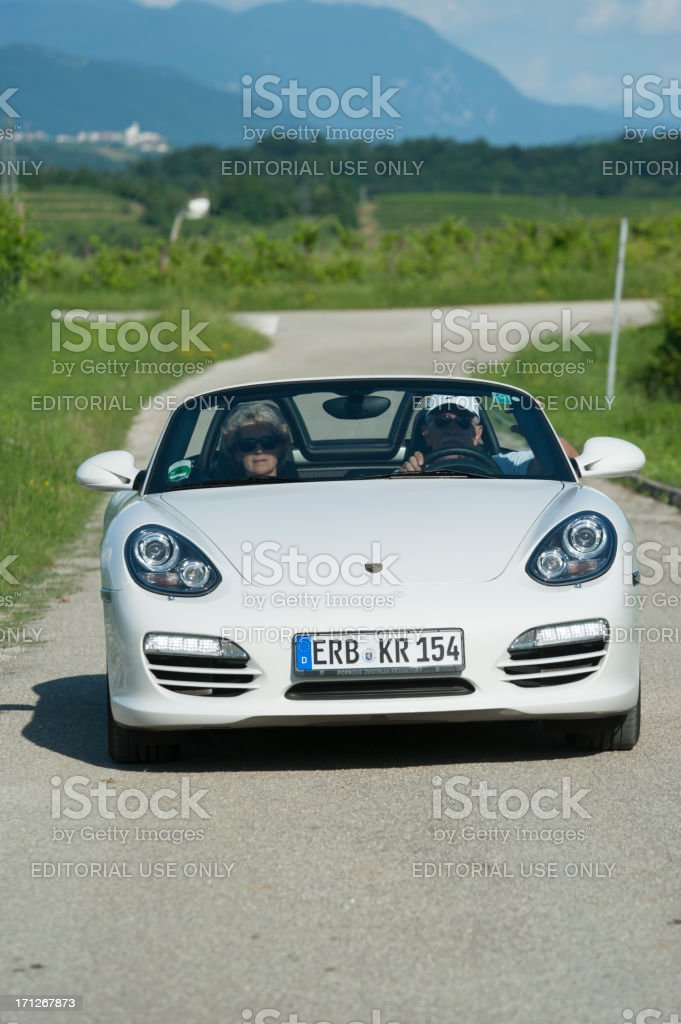 Porsche Boxster (Typ 981) on an italian country road stock photo