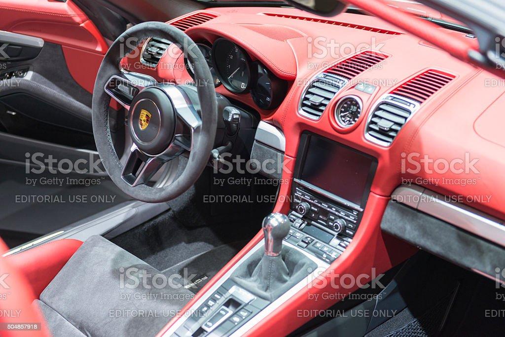 Porsche Boxster Spyder open sports car interior stock photo