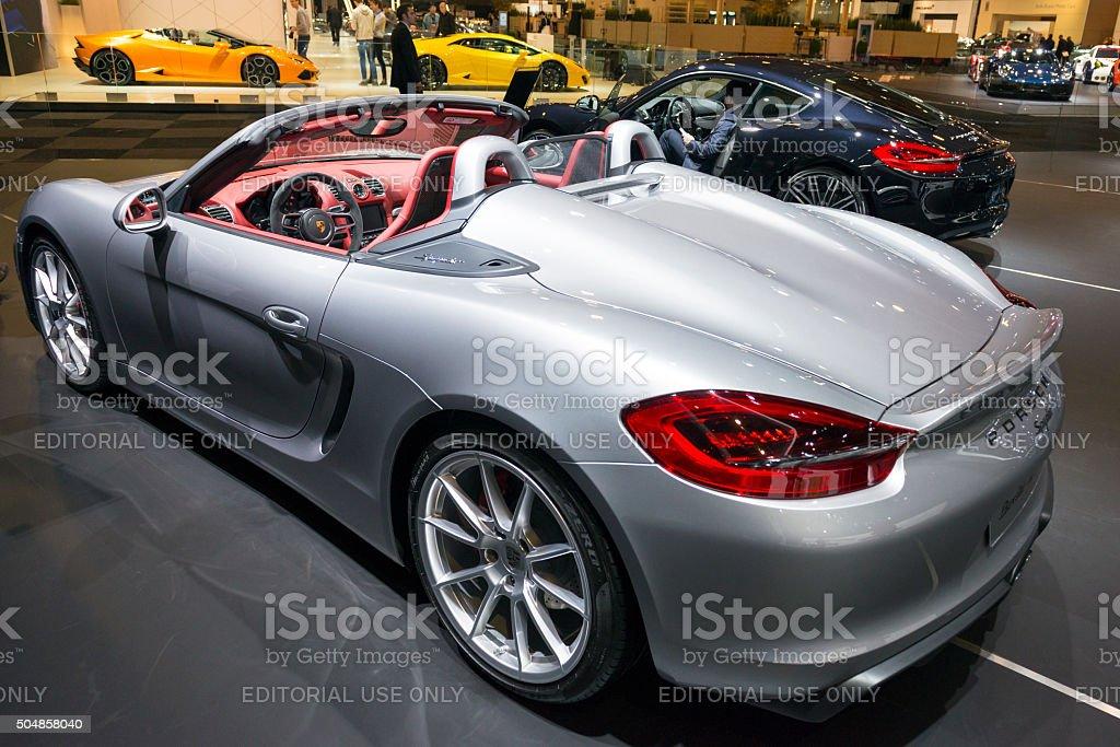 Porsche Boxster Spyder open sports car stock photo