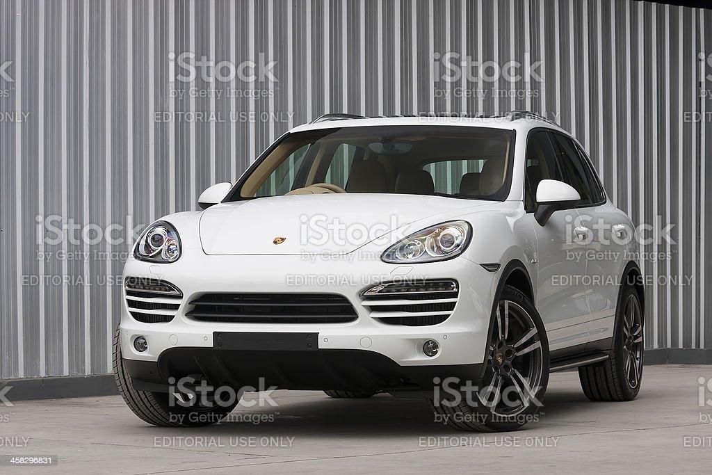 Porsche Cayenne Diesel front view stock photo