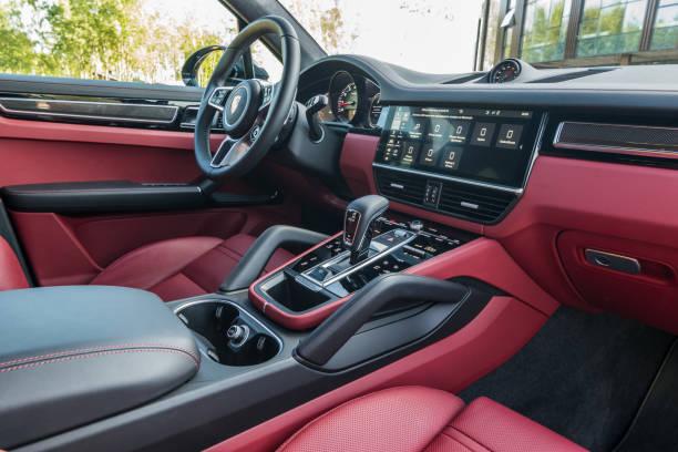 Porsche Cayenne S 2018. Interior. stock photo