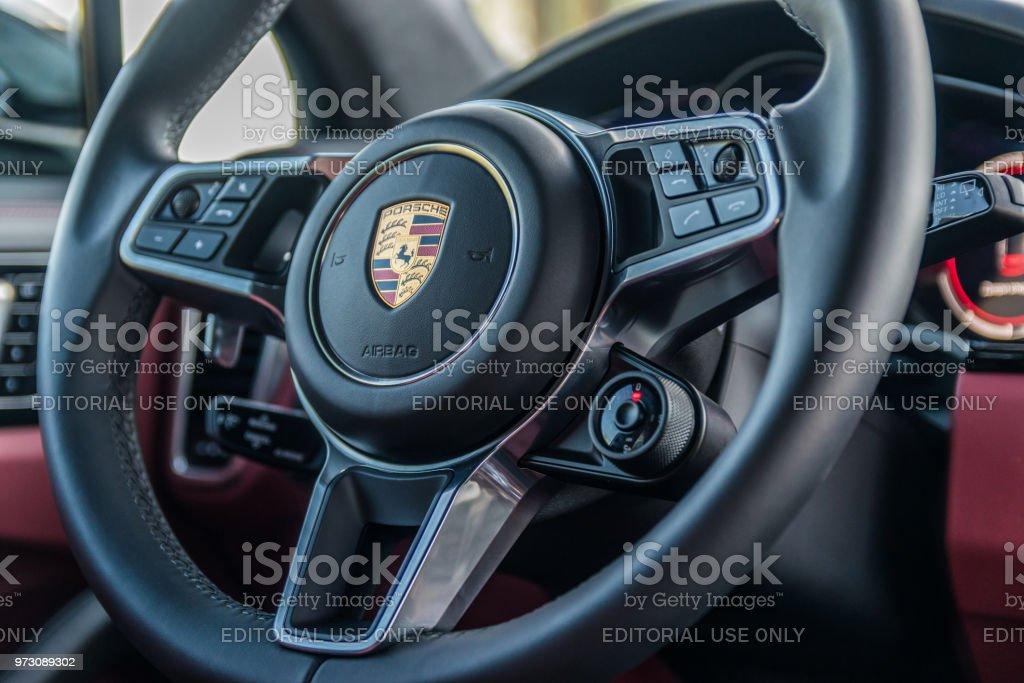 Porsche Cayenne S 2018. Steering wheel. stock photo