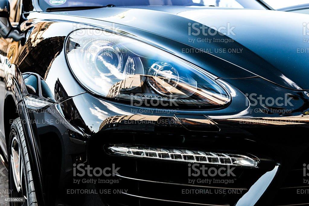 Porsche Cayenne Turbo S in black color stock photo