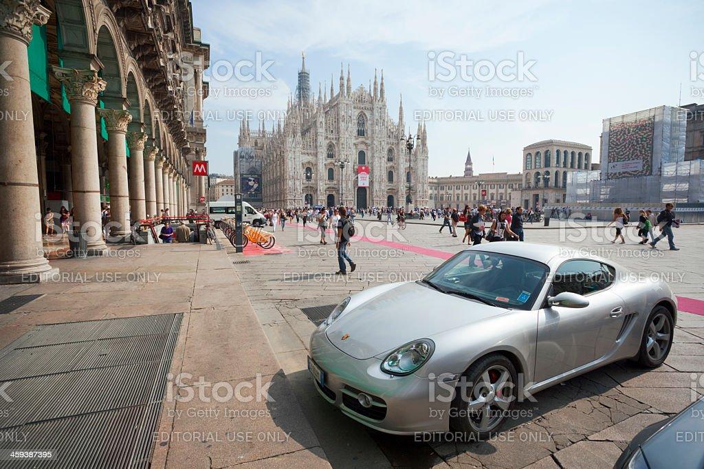 Porsche Cayman in Milan stock photo