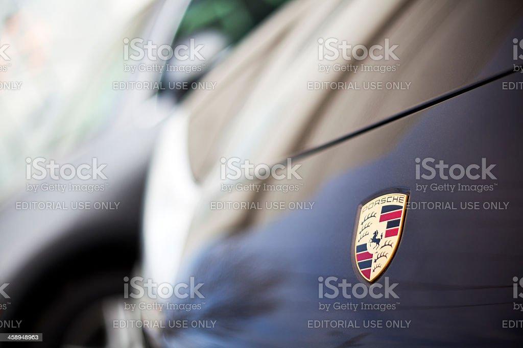 Porsche Emblem on 911 991 Series stock photo