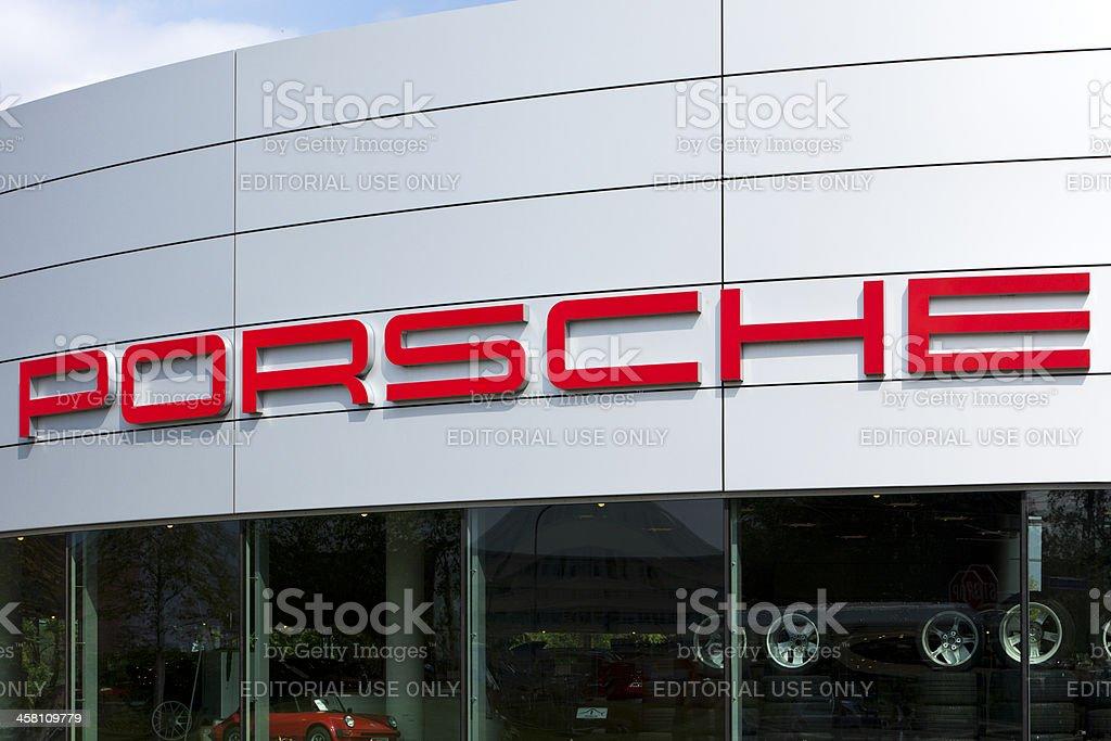 Porsche logo at car dealer's building stock photo