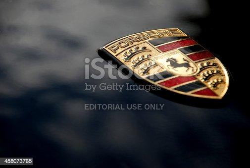 istock Porsche Logo on Black, Macro 458073765