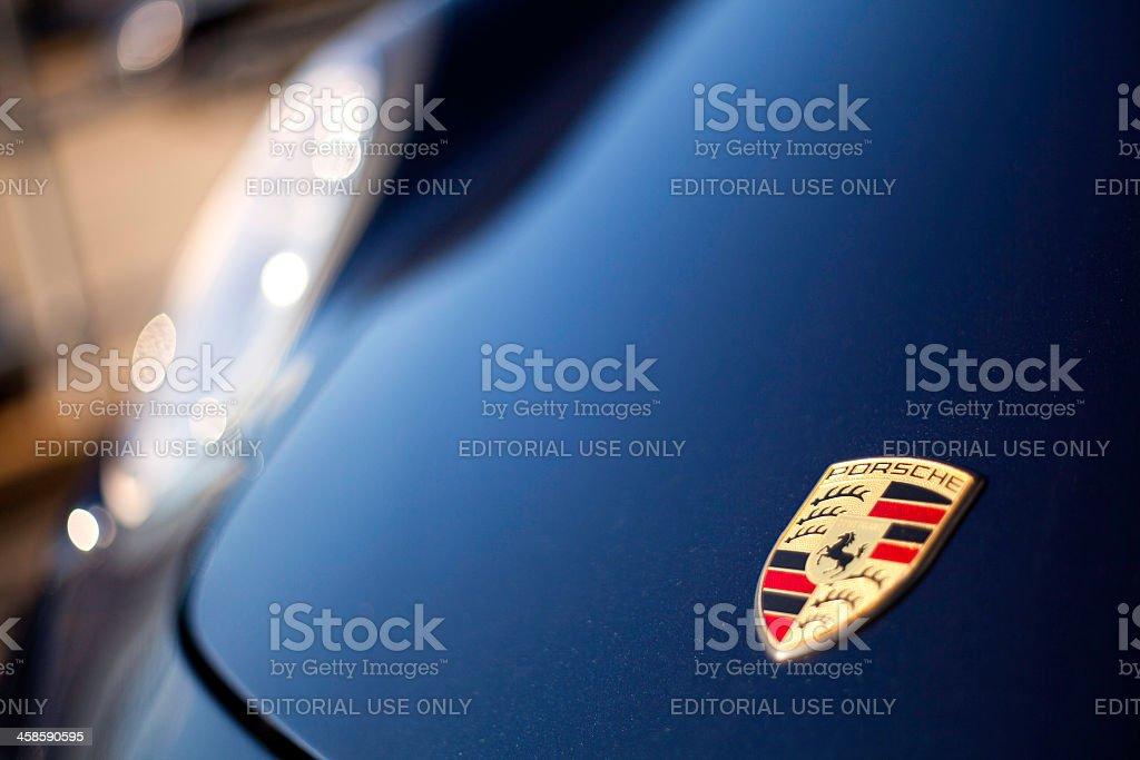 Porsche Logo on Hood of Cayman R stock photo