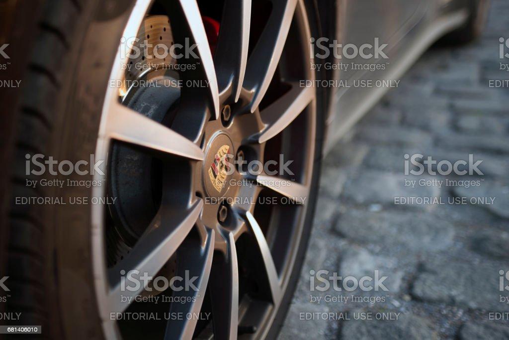 Porsche logo on the tire rim stock photo