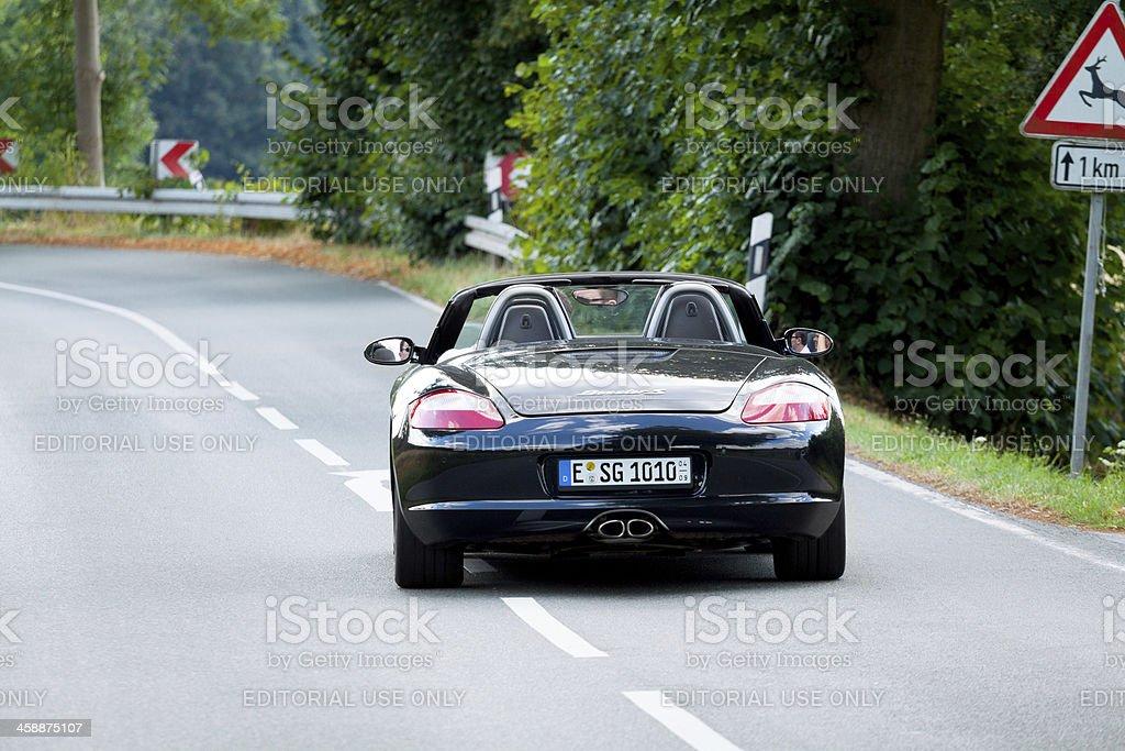 Porsche on road stock photo