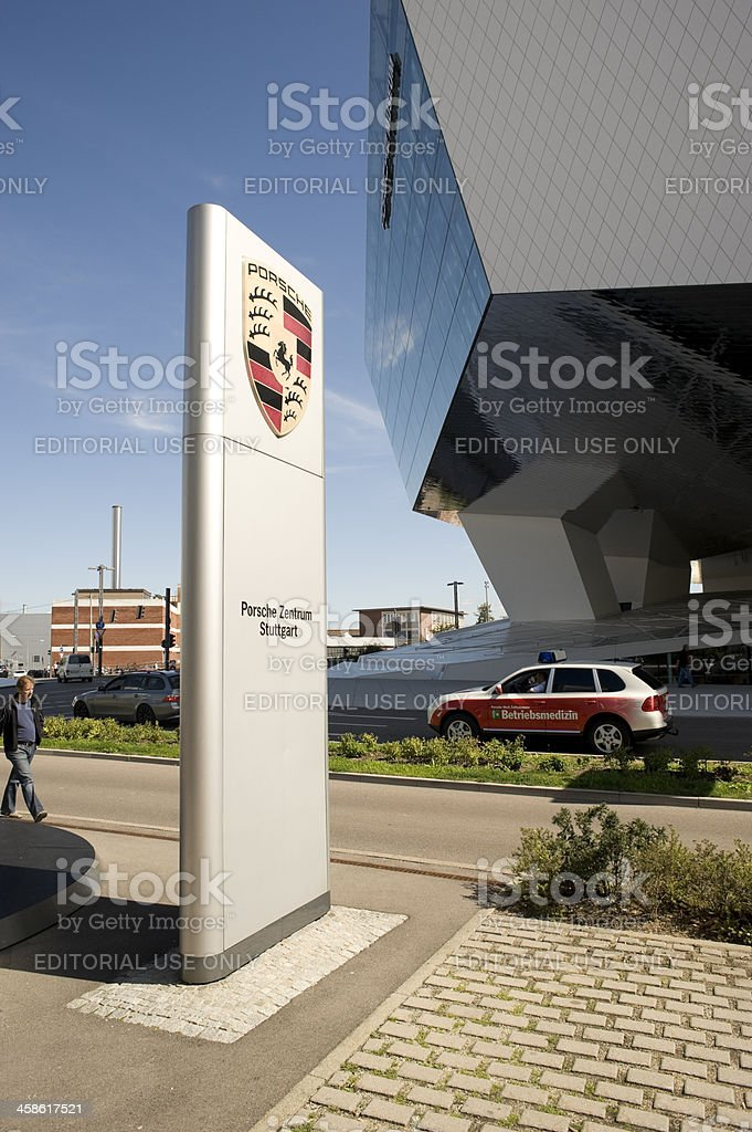Porsche outdoor sign stock photo
