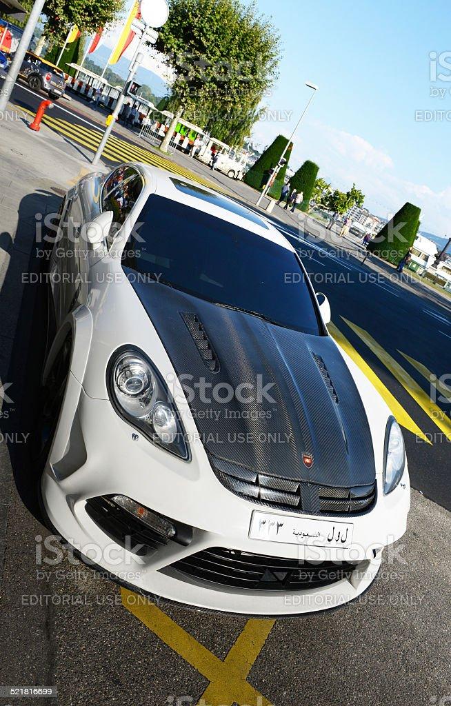 Porsche Panamera by Mansory in Geneve, Switzerland on sunny day stock photo