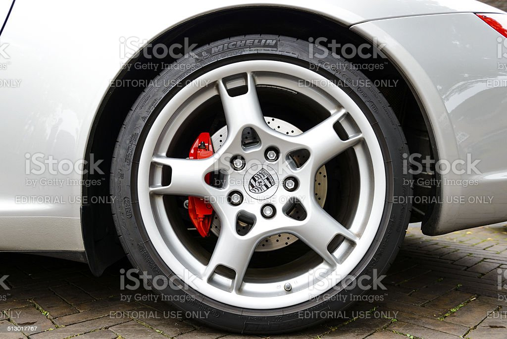 Porsche wheel and brake stock photo