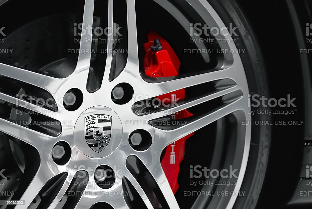 Porsche wheel stock photo