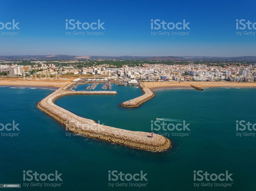 Port and beaches of Quarteira, view from sky. stock photo