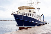 Fisherman ship in the port in Rijeka in Croatia. Selective focus.You can find more port images in this lightbox: